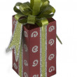 Gift box with a green ribbon - Stock Photo
