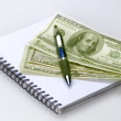 Dollars in white background with notepad and pen notation gives — Stock Photo