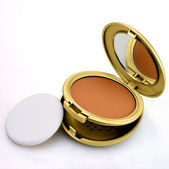 Brown powder makeup golden metal box isolated on white — Stock Photo
