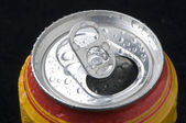 Open beer cans with locking ring — Stock Photo