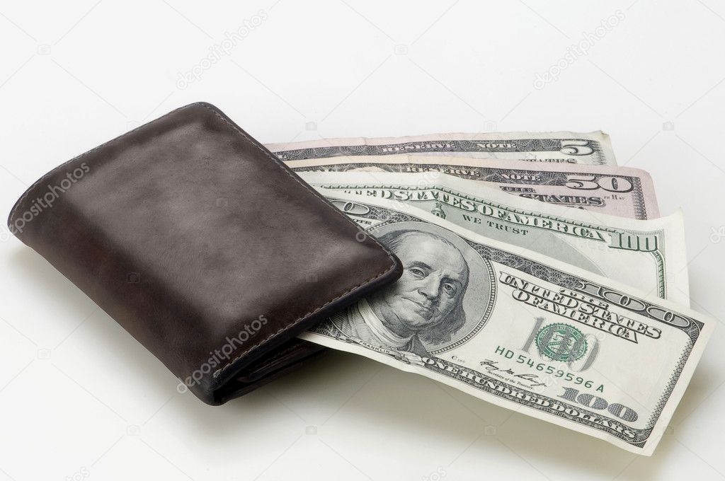 Wallet with dollars on white background  Stock Photo #8364372