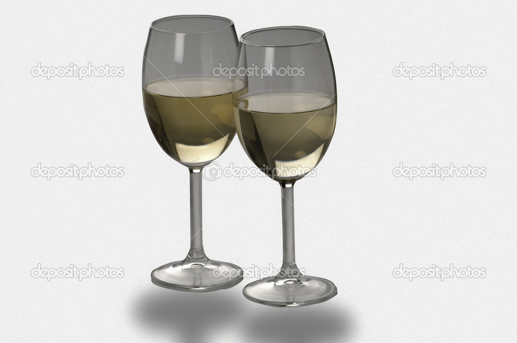 Two glasses of white wine isolated — Stock Photo #8364422