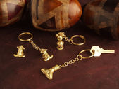 Gold Keychain — Stock Photo