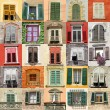 Collage with old windows from Italy, Europe — Foto Stock