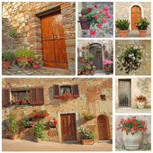Collage of flowery doorways to the tuscan houses — Stock Photo