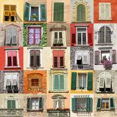 Colagem com janelas antigas da itália, europa — Foto Stock