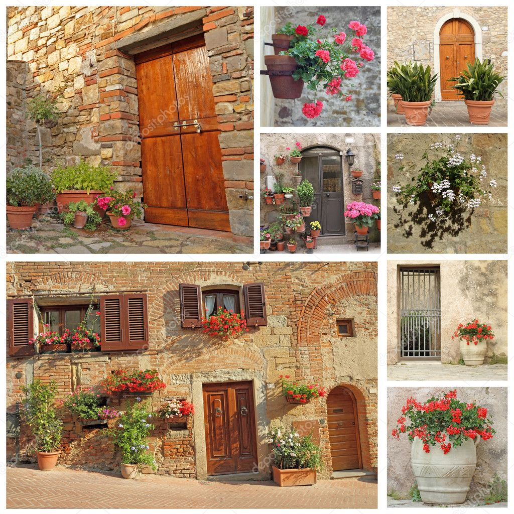 Collage of flowery doorways to the tuscan houses, Tuscany, Italy, Europe — Stock Photo #10016479
