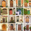 Collage with vintage doors - Stock Photo