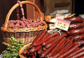 Sausages for sale on food market in Krakow, Poland, Europe — Stock Photo