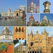 Collage with symbols of indian city Mumbai — Stock Photo