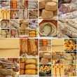 Collage with  sausages and cheese, Europe — Stock Photo