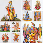Collage with hindu gods — Stock Photo