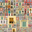 Collage with many retro windows - Stock Photo
