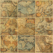 Collage with antique maps - Stock Photo