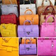 Stock Photo: Collage with colorful leather handbags collection