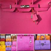 Coleção de bolsas coloridas de couro fino — Foto Stock