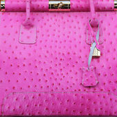 Pink ostrich handbag — Stock Photo