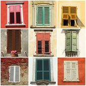 Collage with windows with shutters — Stock Photo