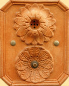 Retro artistic doorbell made in terracotta — Stock Photo