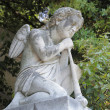 Sculpture of kneeling angel with flute on cemetery — Stock Photo #8509024