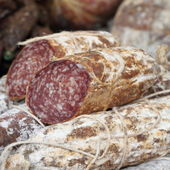 Italian salami for sale — Stock Photo