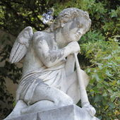 Sculpture of kneeling angel with flute on cemetery — Stock Photo