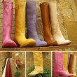 Colorful leather boots collection — Stock Photo