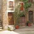 Italian yard in tuscan village - Stock Photo