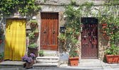 Rustic front doors in Tuscany — Stock Photo