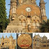 Collage made of Chhatrapati Shivaji Terminus images, Mumbai — Stock Photo