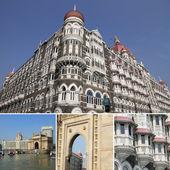 Collage with Taja Mahal hotel in Mumbai — Stock Photo