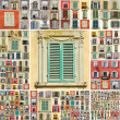 Collage with images of retro windows with shutters in Italy — Stock Photo