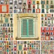 Stock Photo: Collage with images of retro windows with shutters in Italy