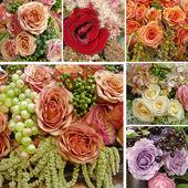 Cartão de casamento com composições de rosas — Foto Stock