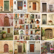 Foto Stock: Collage with vintage doors in Italy