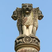 Four lions sculpture - symbol of India — Stock Photo