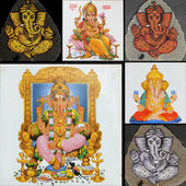 Collage with ganesha art pieces — Stock Photo