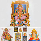 Collage with hindu god ganesha — Stock Photo