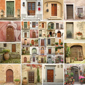 Collage with vintage doors in Italy — Foto Stock