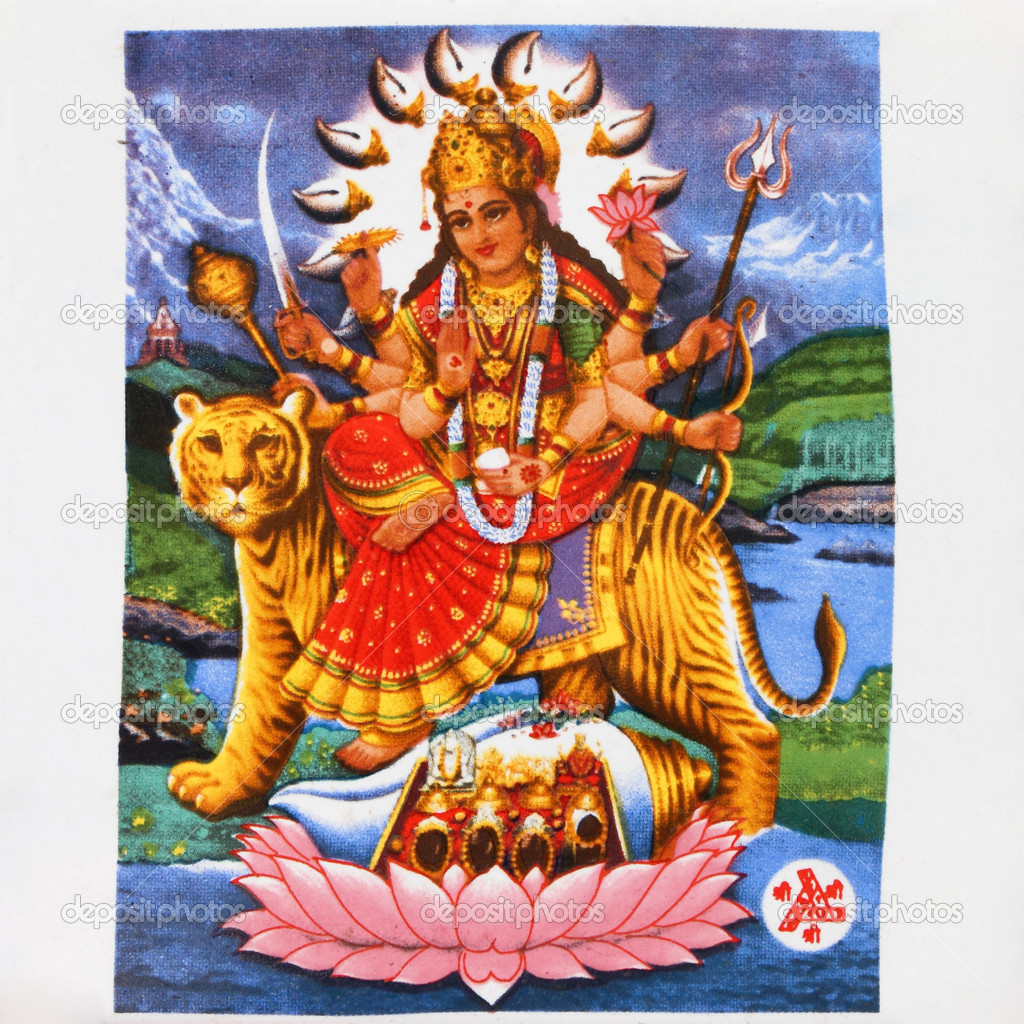 Image of hindu goddess Durga on antique tile  — Stock Photo #8935825
