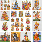 Collection of hindu religious symbols — Stock Photo