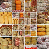 Collage with sausages and cheese — Stock Photo