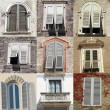 Windows with white old shutters collection from Italy — Stock Photo