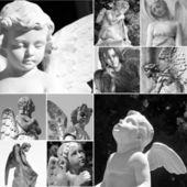 Collage mit friedhof engel — Stockfoto