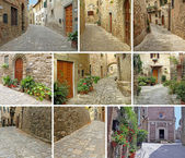 Collage with narrow stony streets — Stock Photo