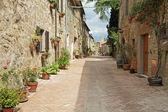 Rua pavimentada com tijolos — Foto Stock