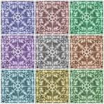Multicolor ornamental tiles collage — Stock Photo