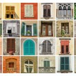 Collage with old windows — Foto Stock