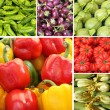 Collage with bell pepper and other vegetables — Foto Stock