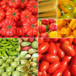Collage with bio vegetables on farmer market - Foto Stock